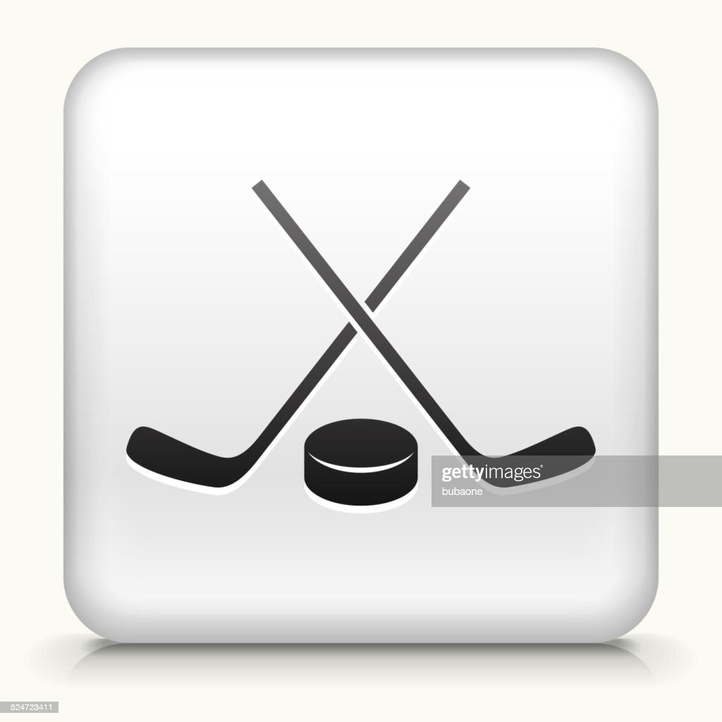 Square Button with Hockey Sticks and Puck