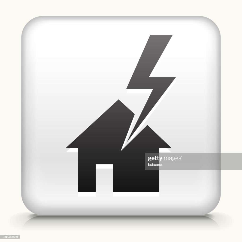 Square Button with House Struck by Lightning : stock illustration