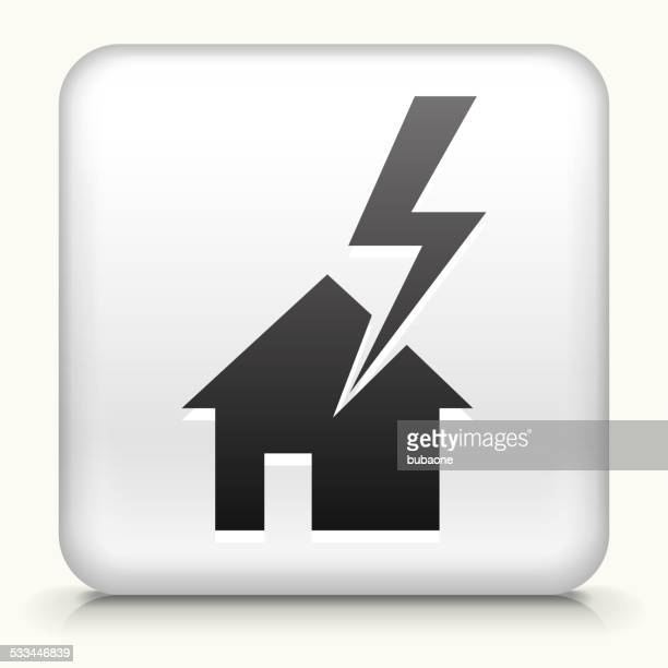 Square Button with House Struck by Lightning