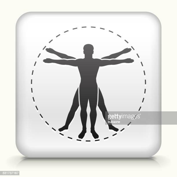 Square Button with Human Anatomy royalty free vector art