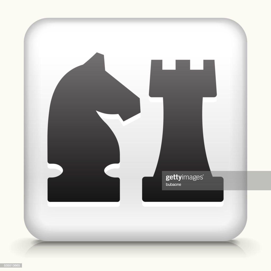 Square Button with Knight & Castle royalty free vector art
