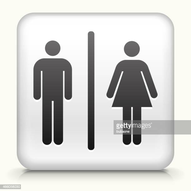 square button with man and woman bathroom sign - toilet sign stock illustrations, clip art, cartoons, & icons
