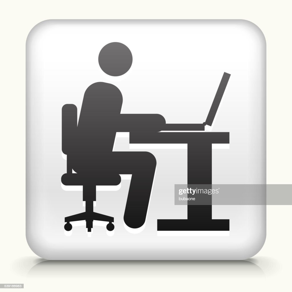 Square button with man working on computer vector art getty images square button with man working on computer vector art biocorpaavc Images