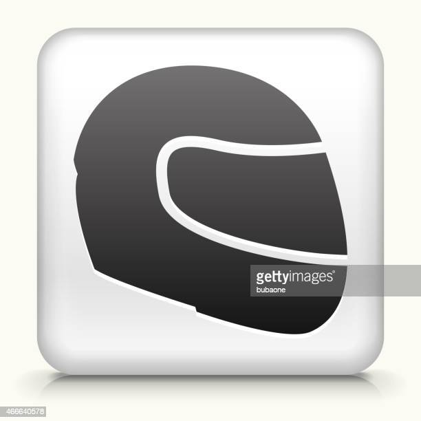 square button with motorcycle helmet - motorcycle helmet stock illustrations, clip art, cartoons, & icons