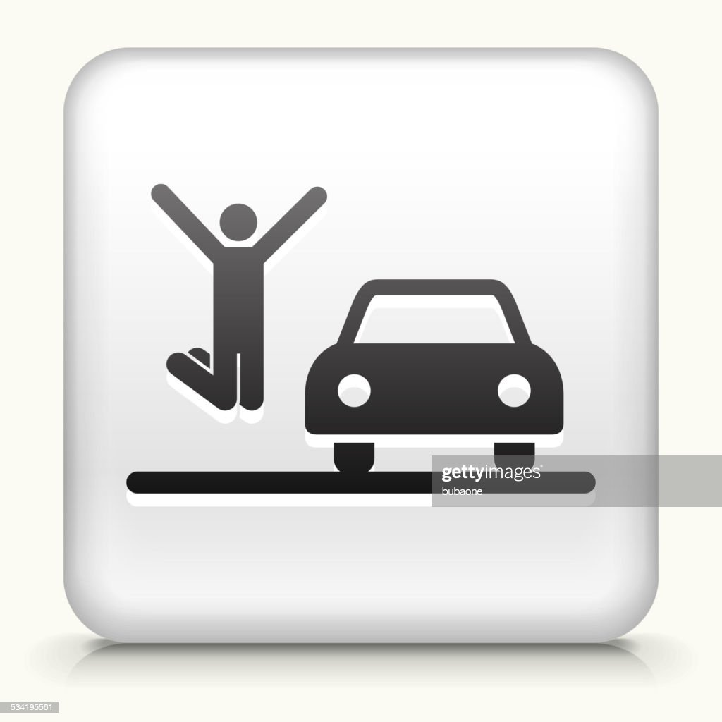Square Button with New Car royalty free vector art