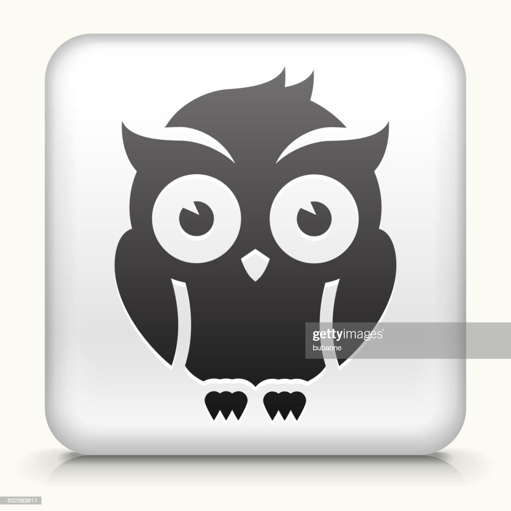 Square Button with Night Owl royalty free vector art