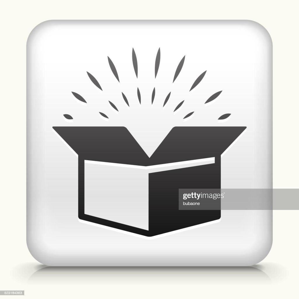 Square Button with Open Box royalty free vector art