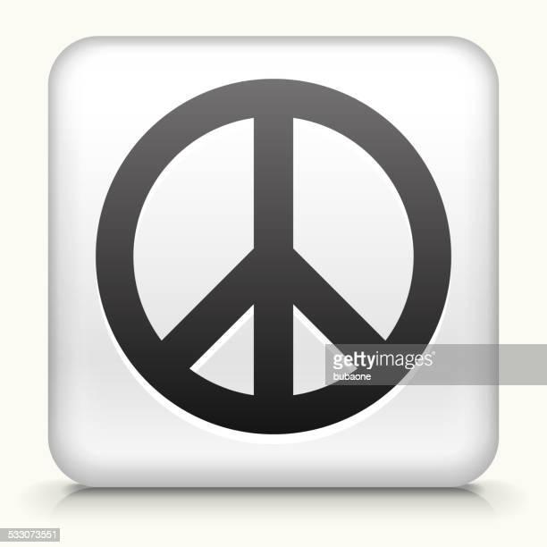 Bouton carré avec signe de la paix vectorielles libres de droits