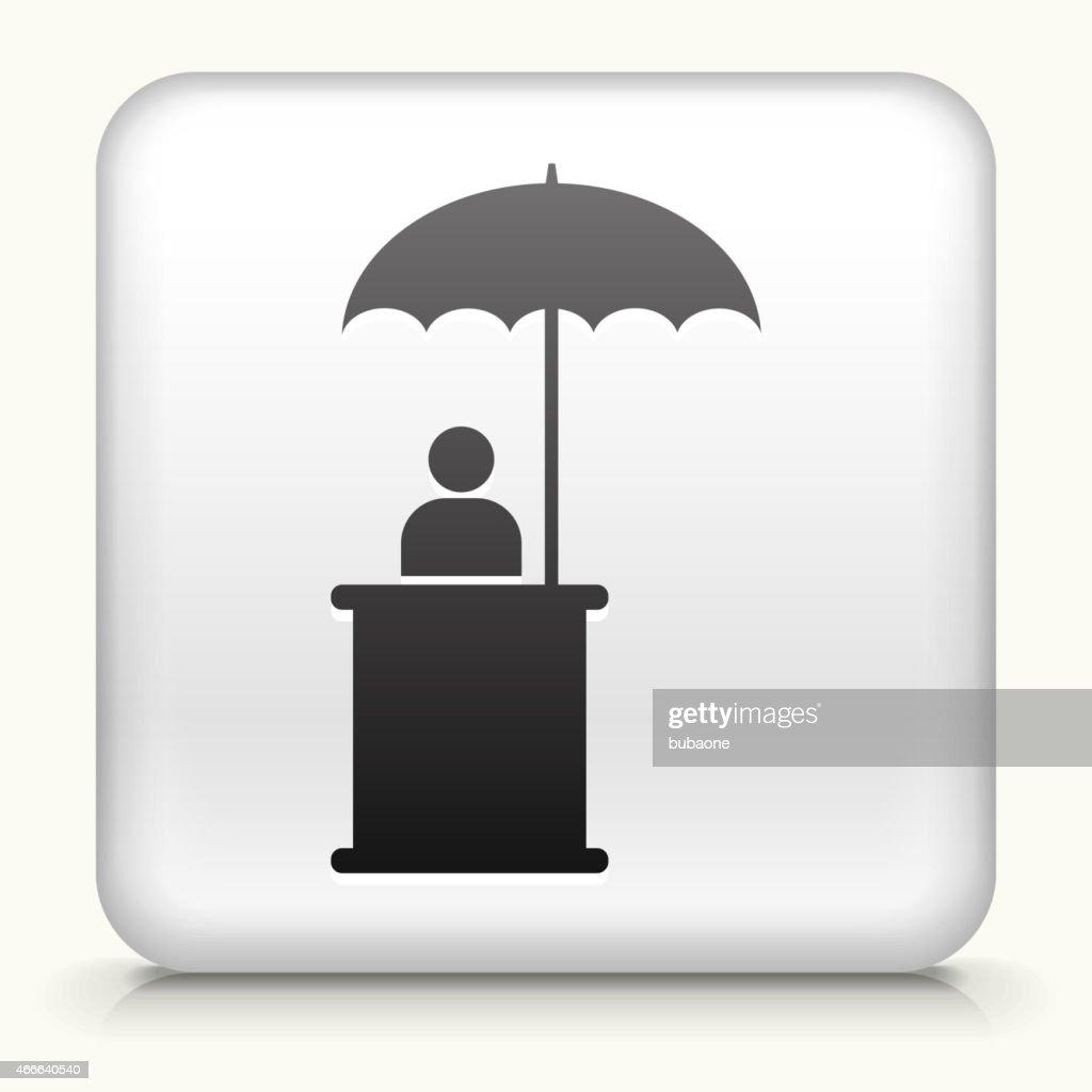 Square Button with Person Sitting Under Umbrella