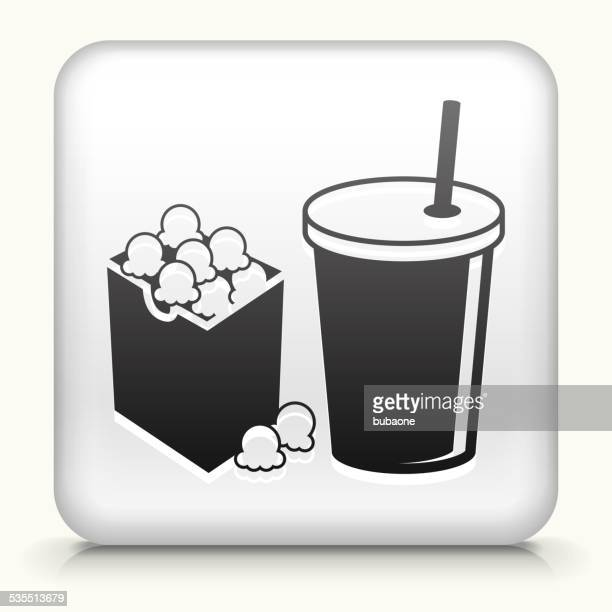 Square Button with Popcorn & Drink royalty free vector art