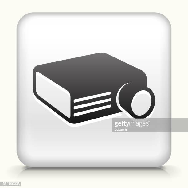 Square Button with Projector royalty free vector art