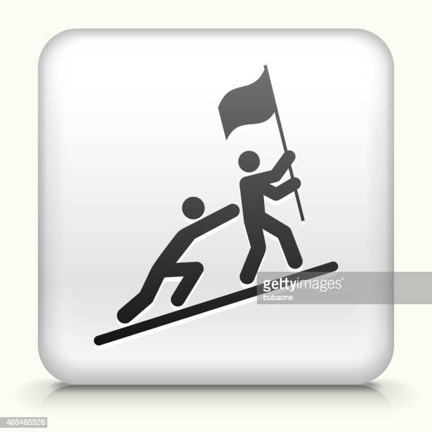 Square Button with Pushing to Success royalty free vector art