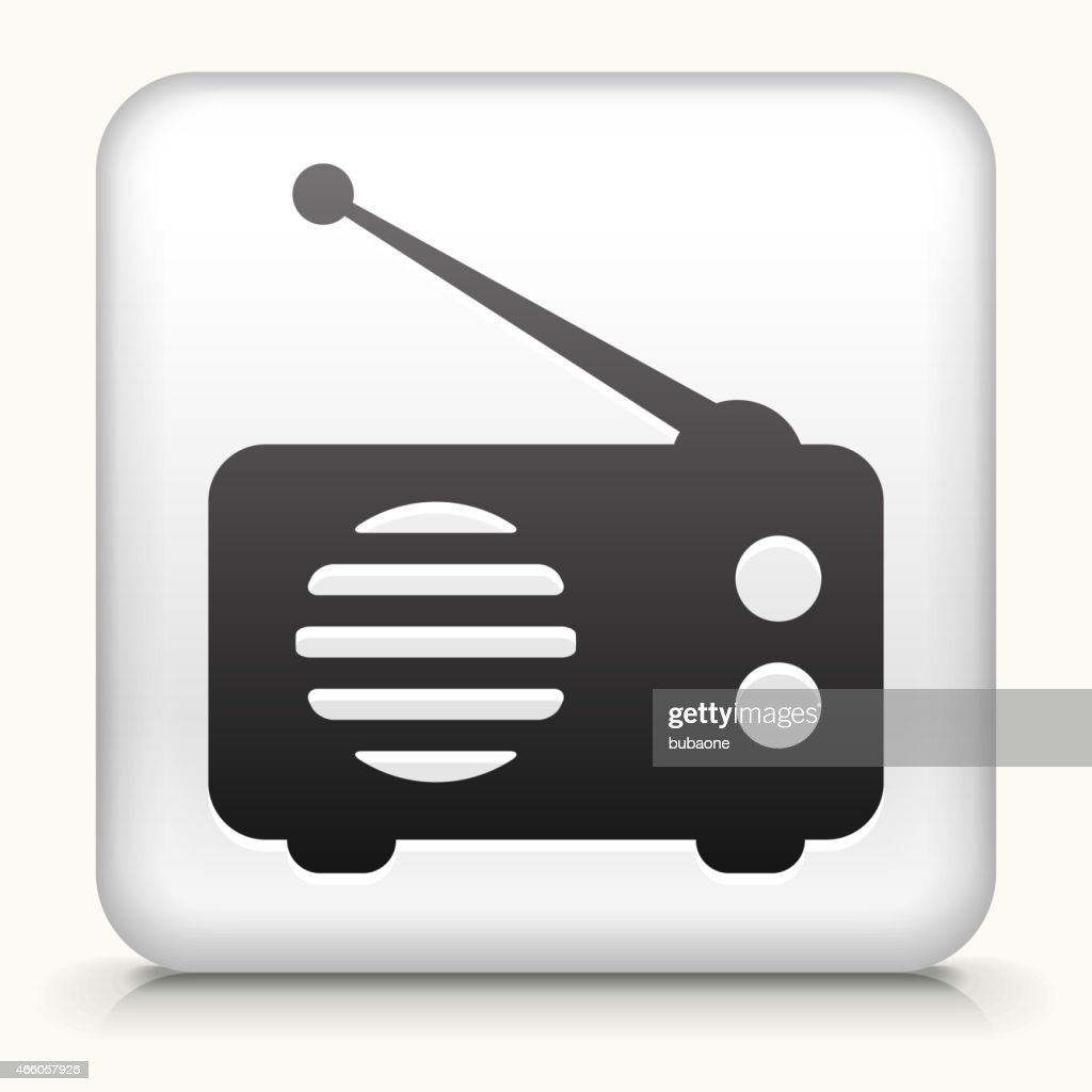 Square Button with Radio royalty free vector art