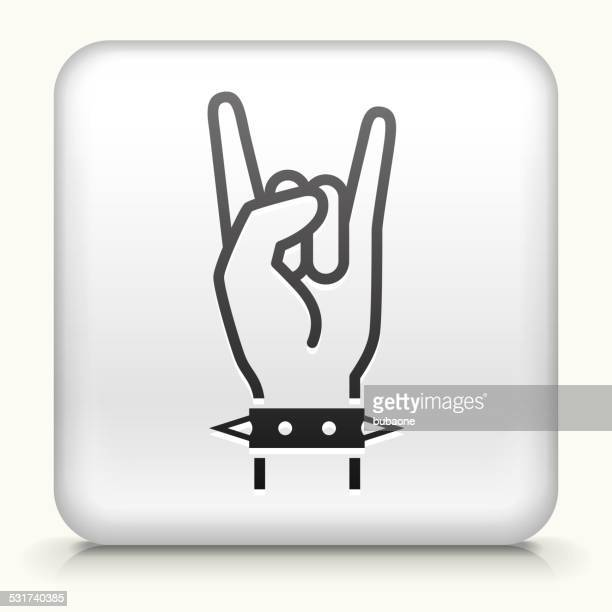 square button with rock royalty free vector art - heavy metal stock illustrations