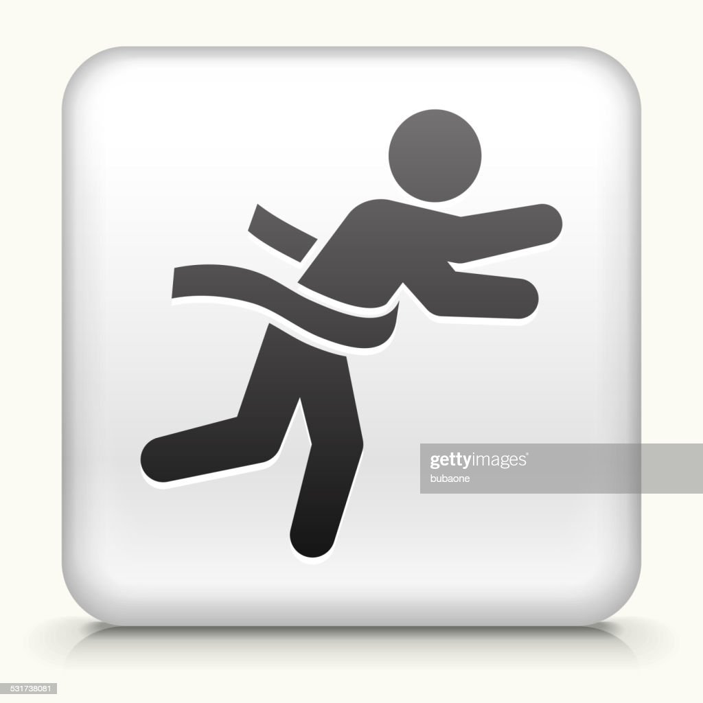 Square Button with Running to Finish Line : Stock Illustration
