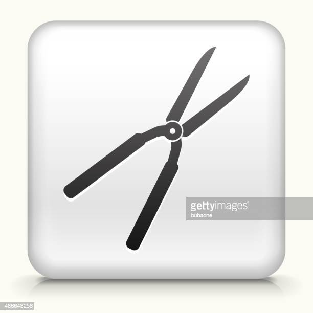 square button with shears interface icon - pruning shears stock illustrations, clip art, cartoons, & icons