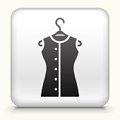 Square Button with Shirt on Hanger