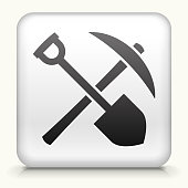 Square Button with Shovel & Pickaxe