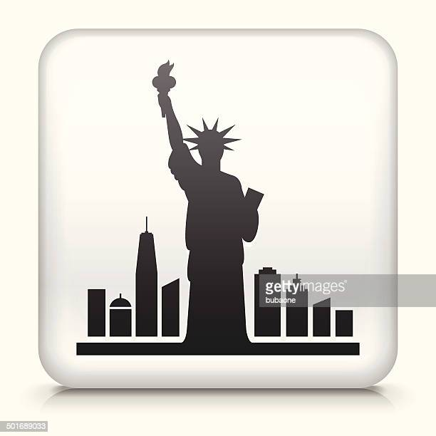 square button with statue of liberty royalty free vector art - liberty island stock illustrations, clip art, cartoons, & icons