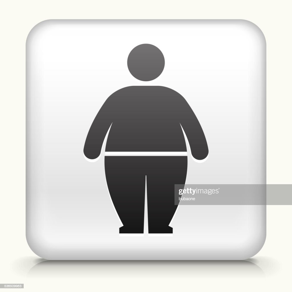 Square Button with Stick Figure and Weight Gain