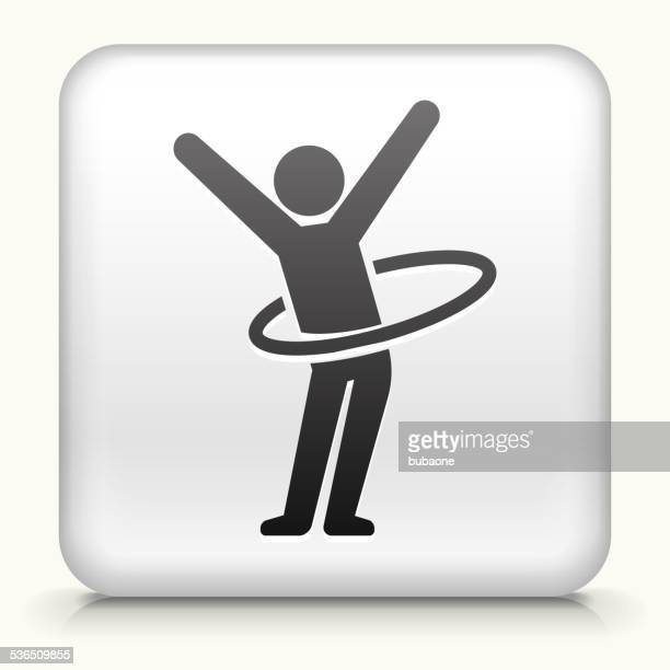 square button with stick figure hula hooping - plastic hoop stock illustrations