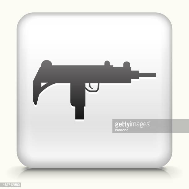 square button with sub-machine gun royalty free vector art - submachine gun stock illustrations, clip art, cartoons, & icons