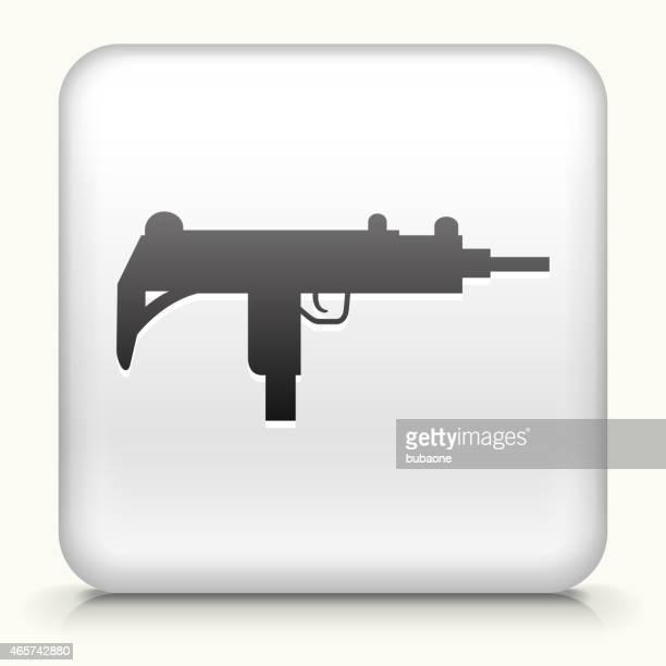 ilustraciones, imágenes clip art, dibujos animados e iconos de stock de botón cuadrado con sub-machine gun arte vectorial libre de derechos - submachine gun