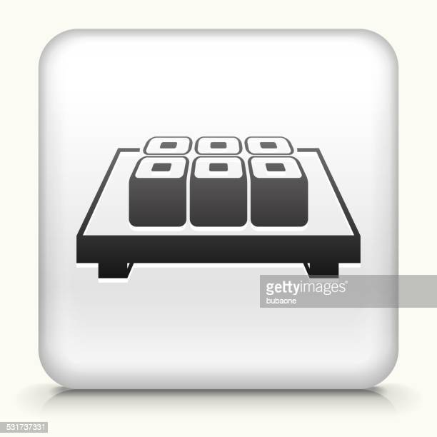 square button with sushi rolls - only japanese stock illustrations, clip art, cartoons, & icons