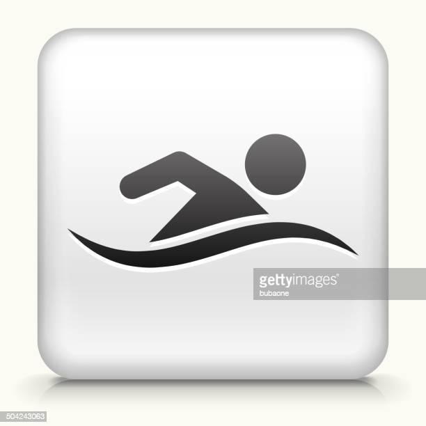 Square Button with Swimming royalty free vector art