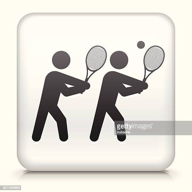 square button with tennis royalty free vector art - sports organization stock illustrations, clip art, cartoons, & icons