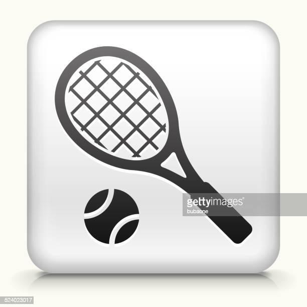 ilustraciones, imágenes clip art, dibujos animados e iconos de stock de botón cuadrado con arte vectorial sin royalties de tenis - raqueta de tenis