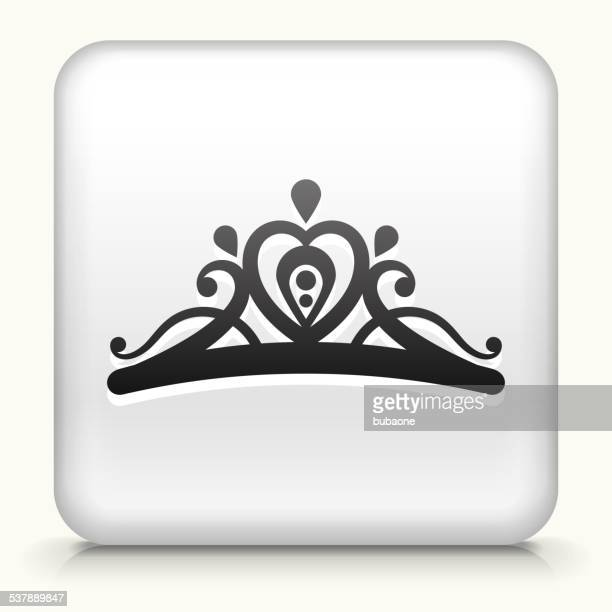 square button with tiara royalty free vector art - tiara stock illustrations, clip art, cartoons, & icons