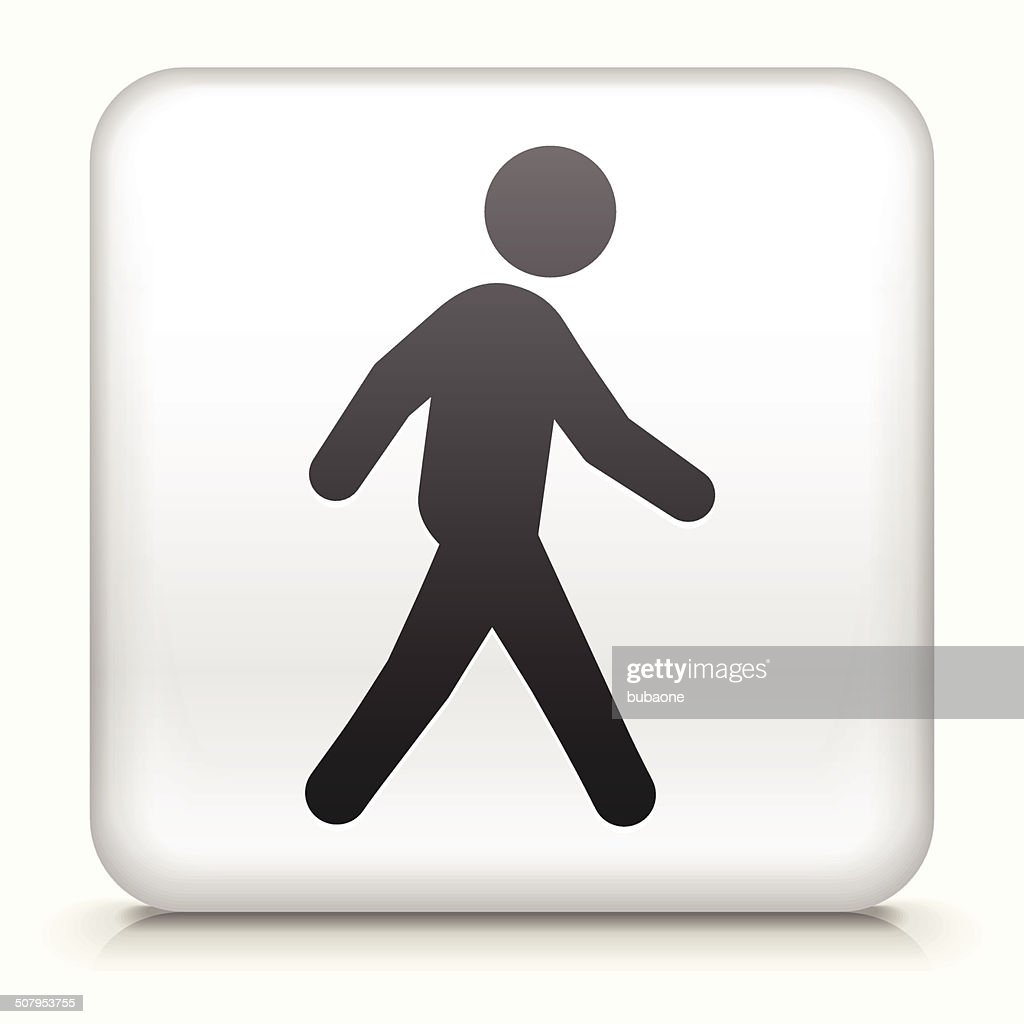 Square Button with Walking royalty free vector art