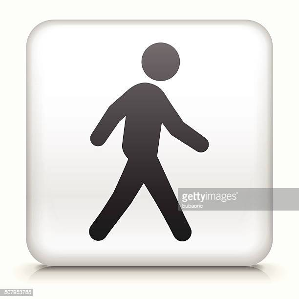 square button with walking royalty free vector art - pedestrian stock illustrations, clip art, cartoons, & icons