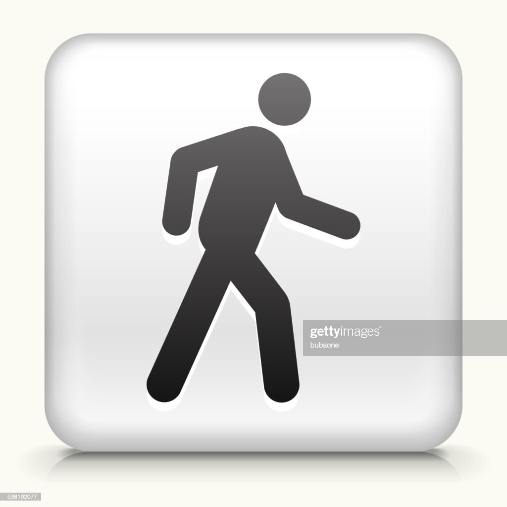 Square Button with Walking Stick Figure royalty free vector art