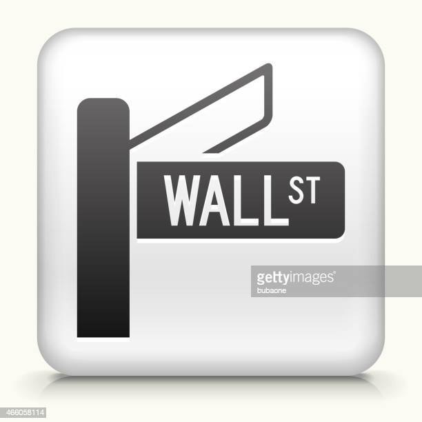 Square Button with Wall Street Sign royalty free vector art