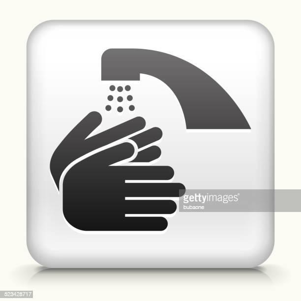 ilustraciones, imágenes clip art, dibujos animados e iconos de stock de botón cuadrado con lavado de manos libres de derechos, arte vectorial - lavado de manos