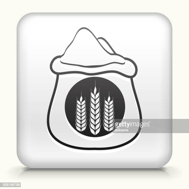 square button with wheat bag royalty free vector art - serving size stock illustrations, clip art, cartoons, & icons