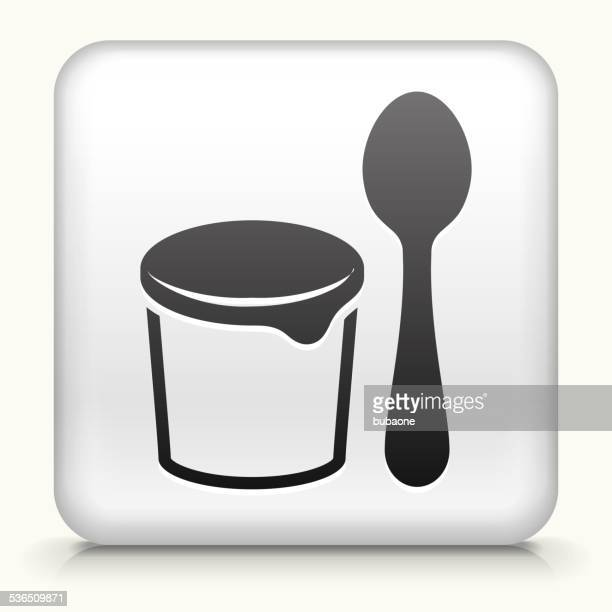 Square Button with Yogurt and Spoon