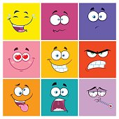 Square Cartoon Emoticons Different Color With Expression Set 2. Collection