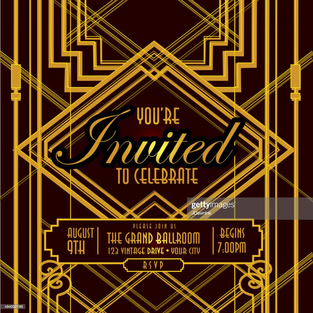 Square Composition Art Deco Style Vintage Invitation Design Template Vector