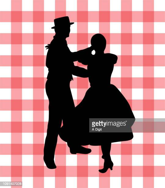 square dance town fair - one teenage girl only stock illustrations