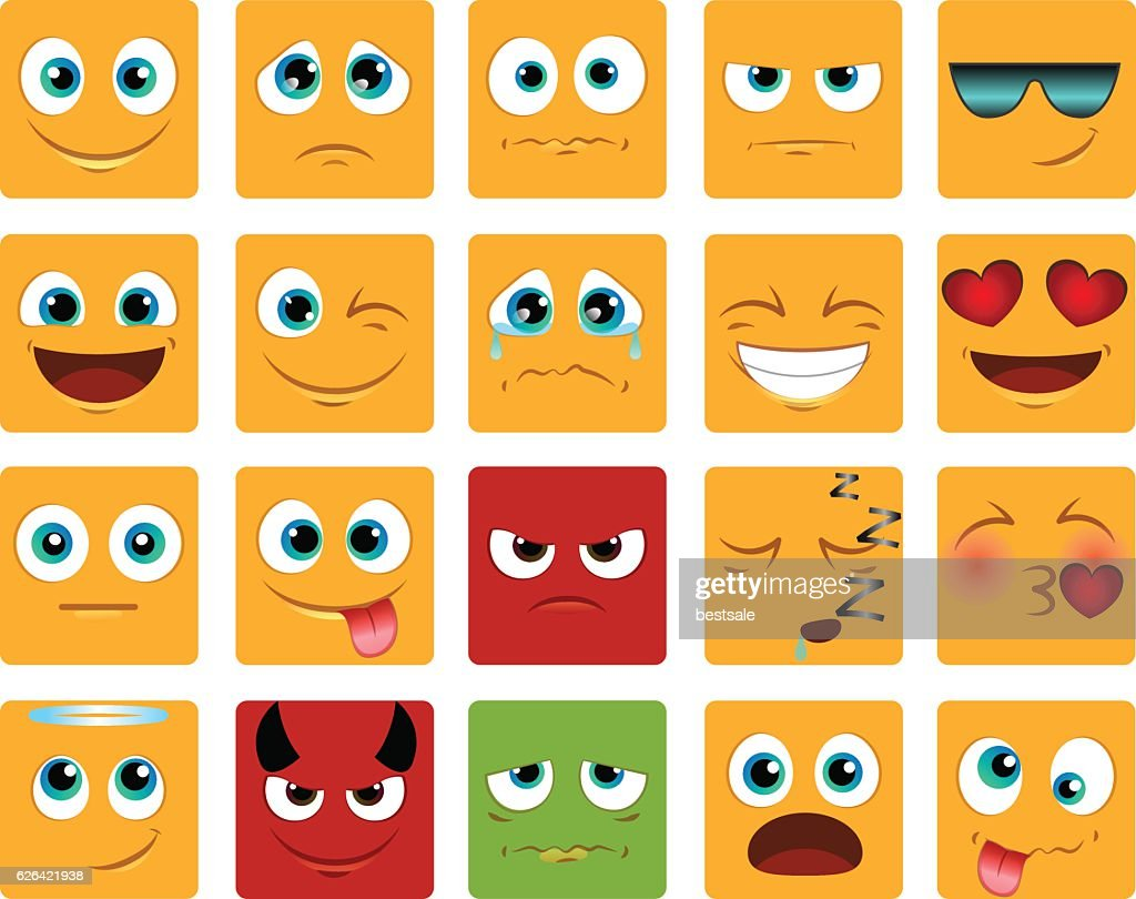 square Emoticons or smiley icons set