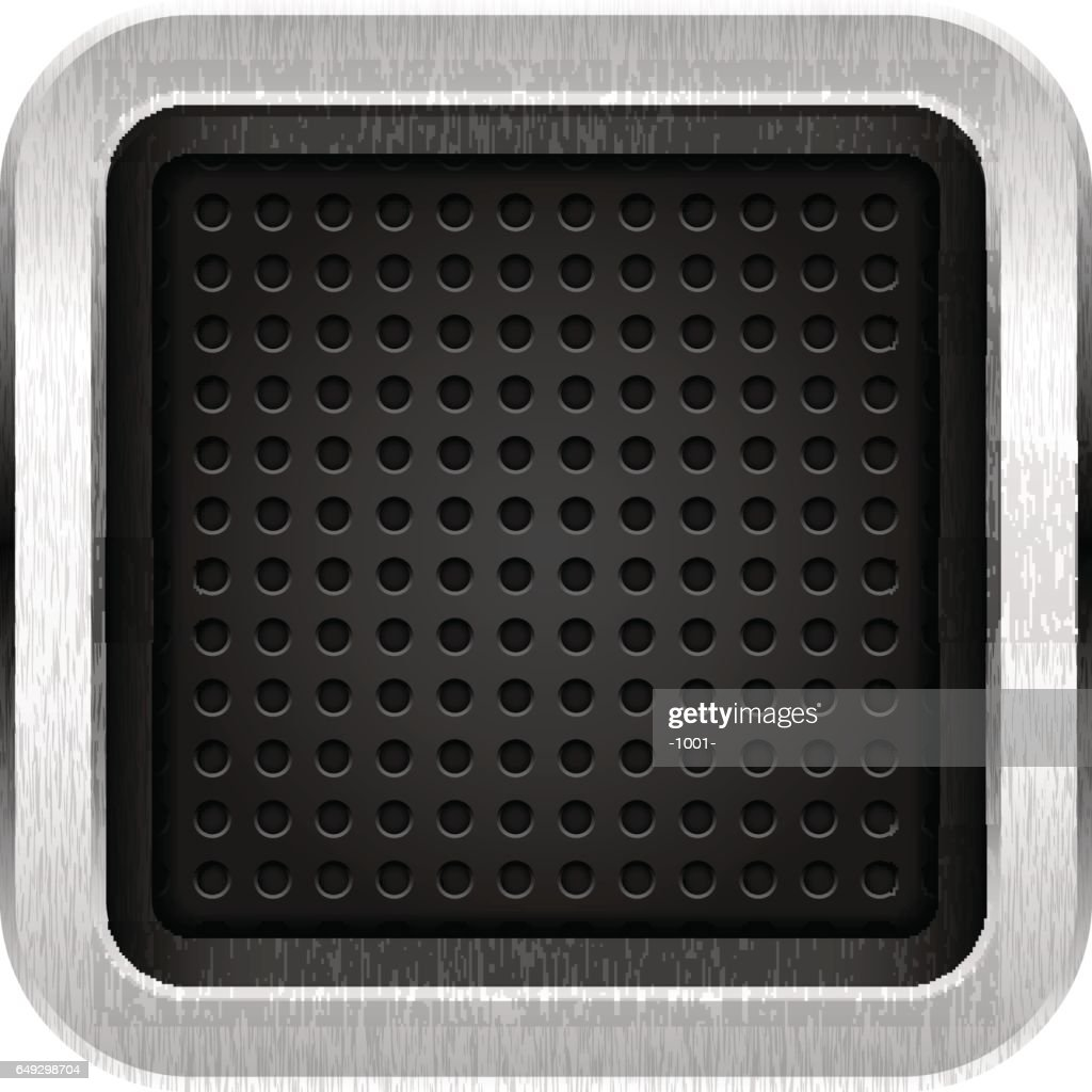 Square empty chrome metal icon with texture