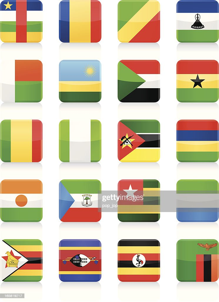 Square Flag Icon collection - Africa