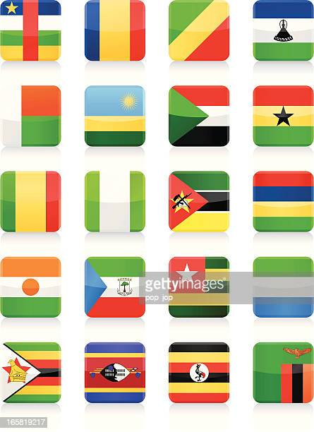 square flag icon collection - africa - ghana flag stock illustrations, clip art, cartoons, & icons