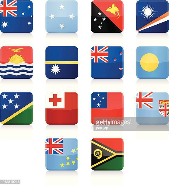 square flag icon collection - australia and oceania - marshall islands stock illustrations, clip art, cartoons, & icons