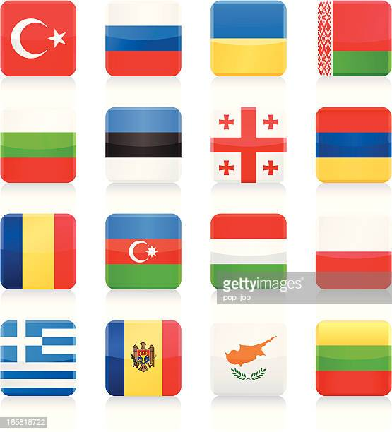 square flags collection – osten und südeuropa - flagge von georgien stock-grafiken, -clipart, -cartoons und -symbole