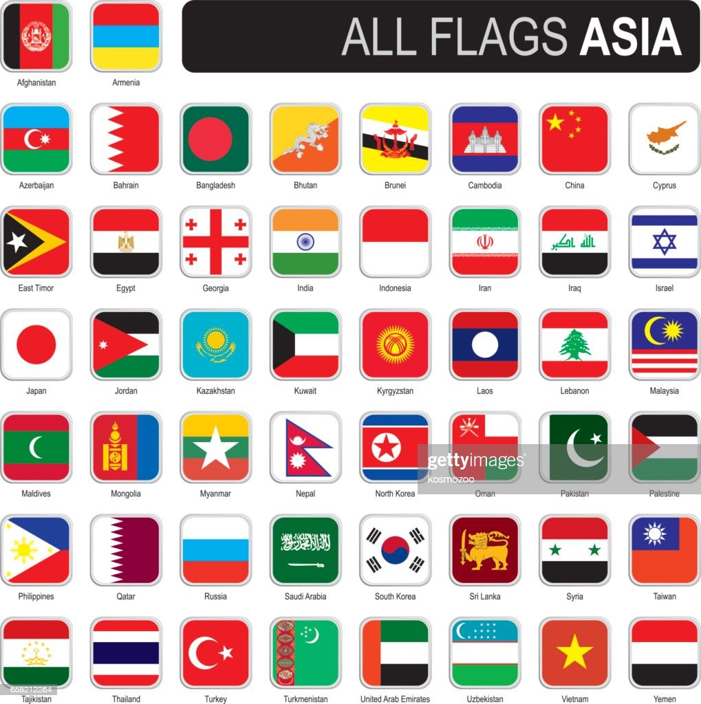 Square flags of Asia