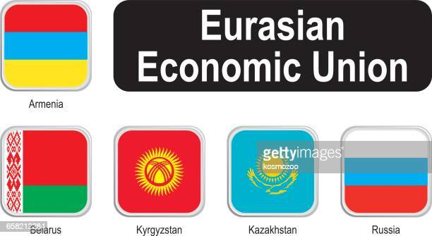 square flags of eurasian economic union - armenian flag stock illustrations